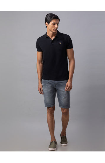 Spykar Grey Cotton Slim Fit Jeans (Shorts)