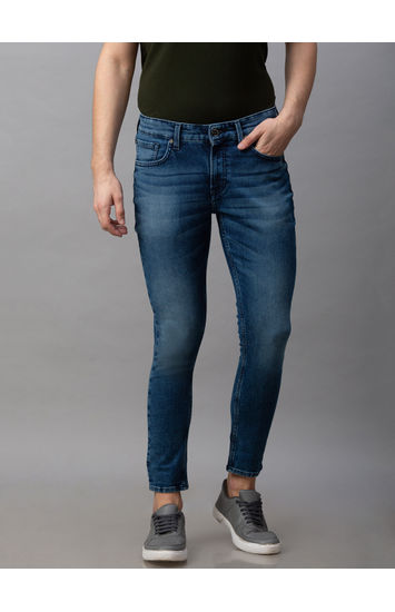 Spykar Blue Cotton Mid Rise Slim Fit Tapered Leg Ankle Length Jeans (Kano)