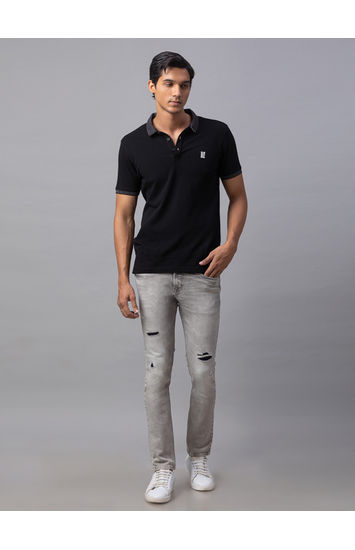 Spykar Grey Cotton Skinny Fit Jeans (Super Skinny)