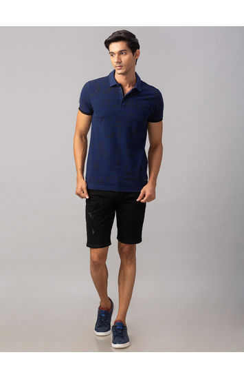Spykar Black Cotton Slim Fit Jeans (Shorts)