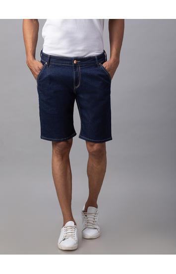 Spykar Blue Cotton Slim Fit Jeans (Shorts)