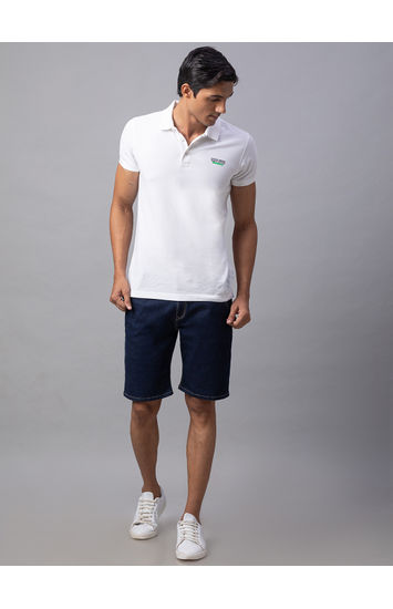 Spykar Blue Cotton Slim Fit Jeans (Shorts)