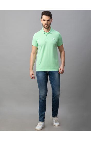 Spykar Blue Cotton Low Rise Slim Fit Narrow Leg Regular Length Jeans (Skinny)