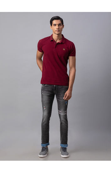 Spykar Black Cotton Tapered Fit Jeans (Kano)