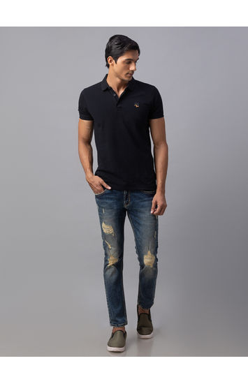 Spykar Blue Cotton Slim Fit Jeans (Slim)