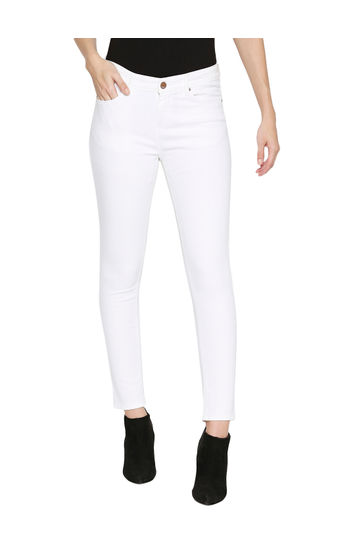 Spykar White Cotton Mid Rise Skinny Ankle Length Fit Jeans (Adora)