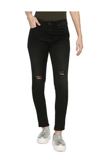 Spykar Black Cotton Mid Rise Skinny Ankle Length Fit Jeans (Adora)