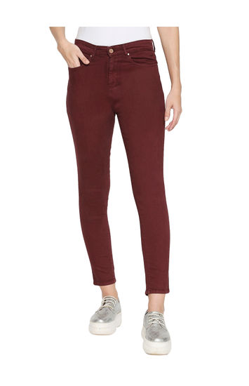 Spykar Red Cotton High Rise Super Skinny Ankle Length Fit Jeans (Alexa)