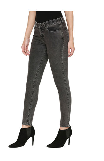 Spykar Black Cotton Low Rise Super Skinny Ankle Length Fit Jeans (Alicia)