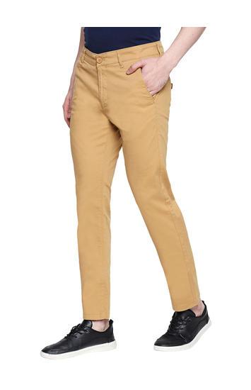 Spykar Khaki Cotton Slim Fit Trousers (Slim)
