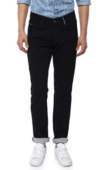 Black Solid Slim Thigh Narrow Leg Fit Jeans