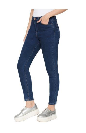 Spykar Blue Cotton High Rise Super Skinny Ankle Length Fit Jeans (Alexa)