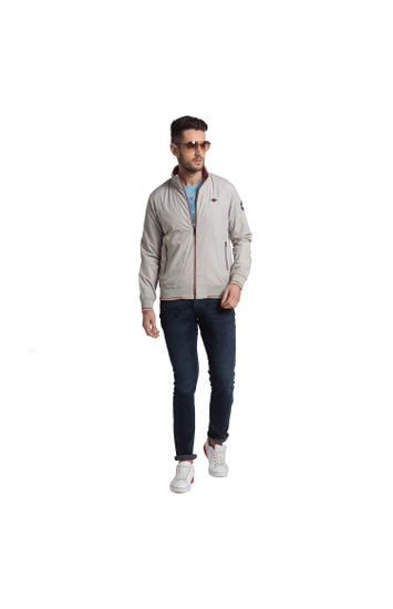 SPYKAR Off White POLYESTER STRAIGHT FIT JACKETS