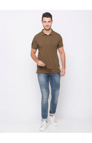 SPYKAR MILITARY OLIVE BLENDED SLIM FIT T-SHIRTS