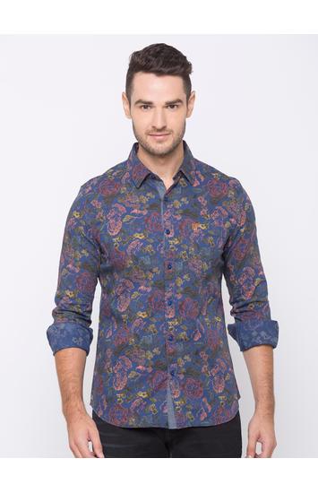 spykar Blue Cotton Casual Shirts