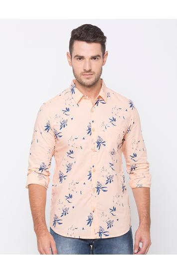 spykar Pink Cotton Casual Shirts
