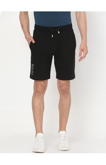 Spykar Black Cotton Shorts