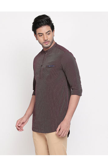 Maroon Striped Slim Fit Casual Shirts