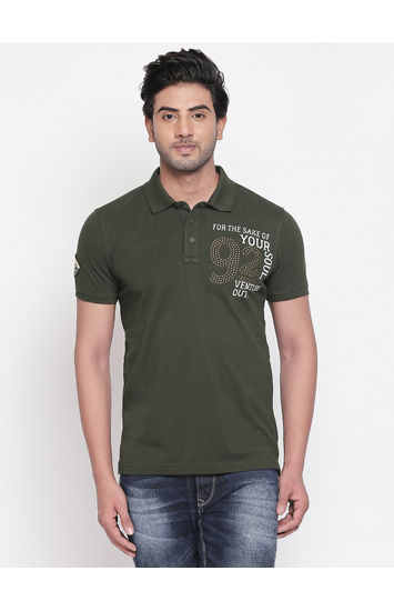 Olive Printed Slim Fit Polo T-Shirt