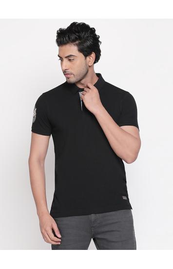 Jet Black Solid Slim Fit Polo T-Shirt