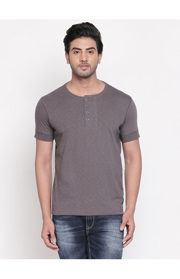 Grey Solid Slim Fit T-Shirts