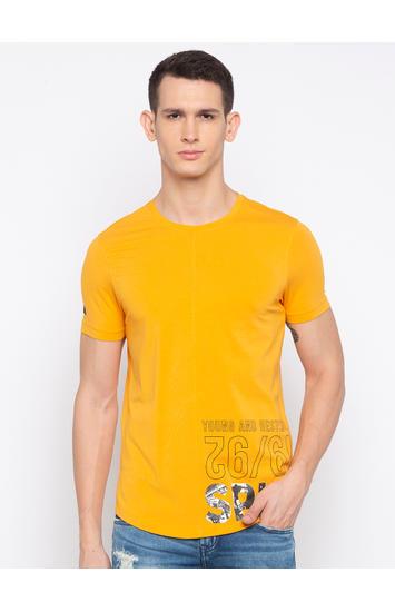 Spykar Yellow Printed T-Shirt