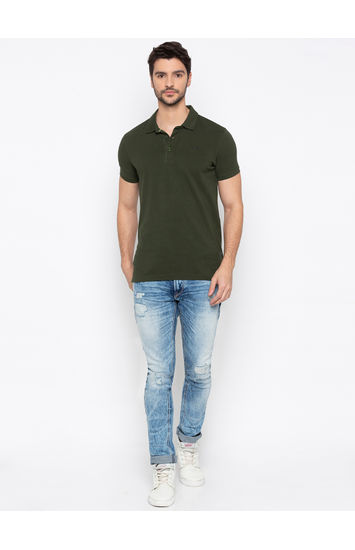 Olive Solid Slim Fit Polo T-Shirt