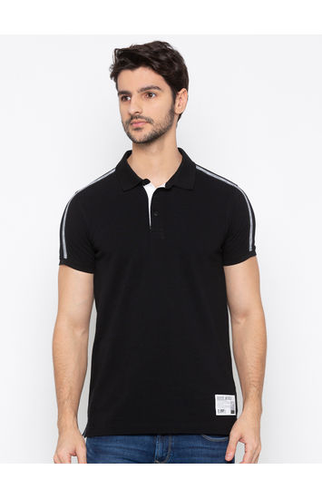 Spykar Black Solid Polo T-Shirt