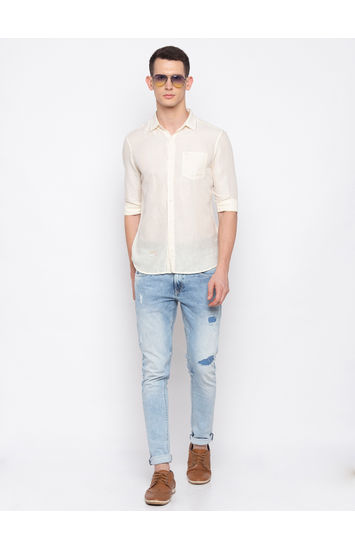 Ecru Solid Casual Shirt