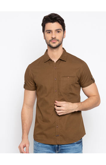 Brown Solid Casual Shirt