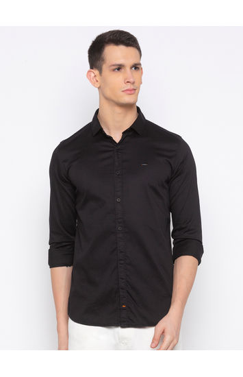 Black Solid Casual Shirt