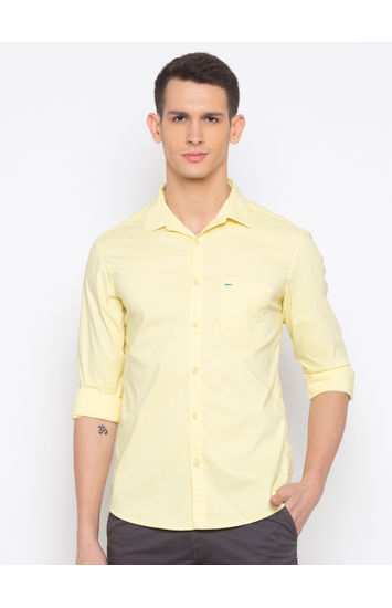 Lemon Yellow Solid Casual Shirt