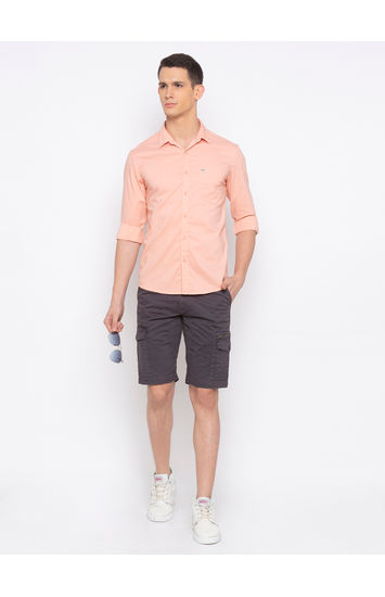 Spykar Peach Solid Casual Shirt