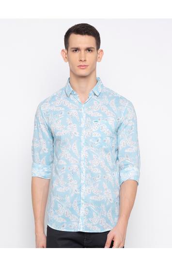 Aqua Printed Casual Shirt