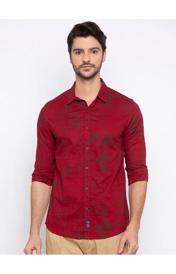 Red Printed Slim Fit Casual Shirt