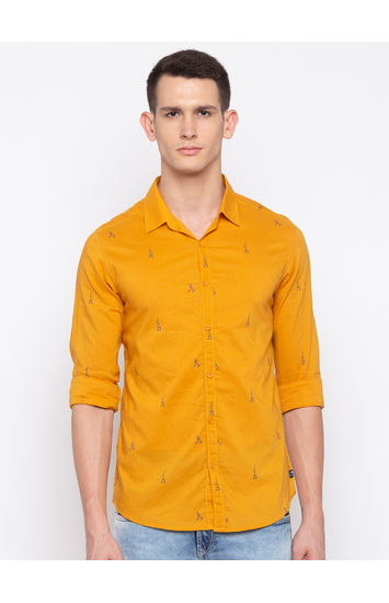 Mustard Printed Slim Fit Casual Shirt