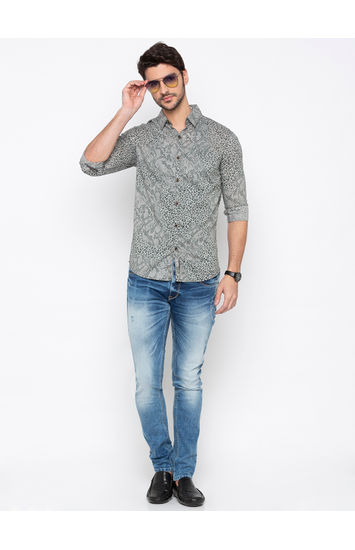 Grey Printed Slim Fit Casual Shirt
