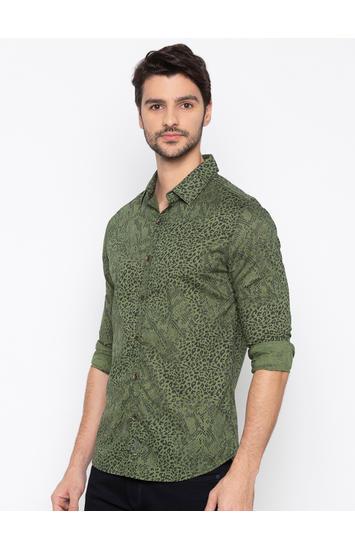 Olive Printed Slim Fit Casual Shirt
