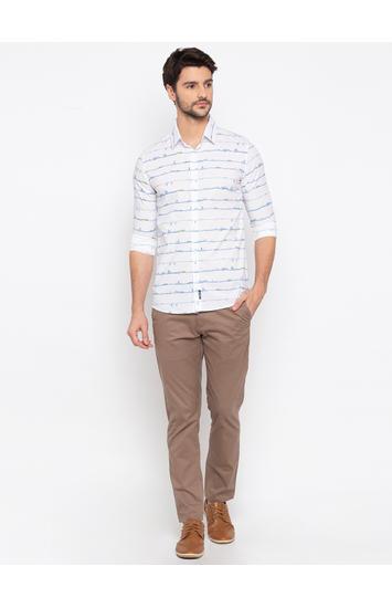 White Striped Slim Fit Casual Shirt