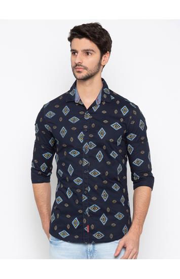 Spykar Navy Printed Slim Fit Casual Shirt