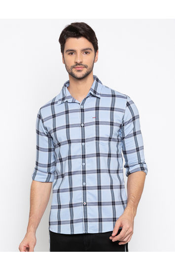 Sky Blue Checked Slim Fit Casual Shirts