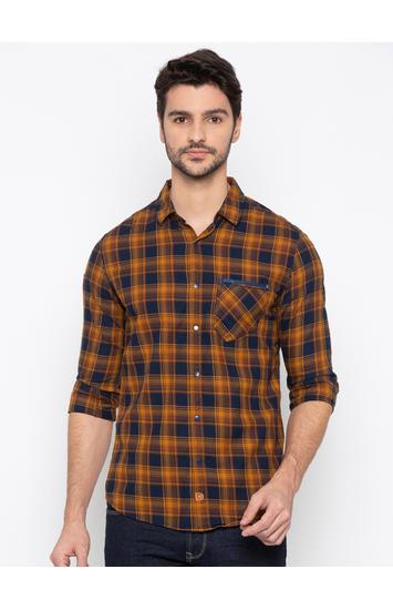 Khaki Checked Slim Fit Casual Shirt