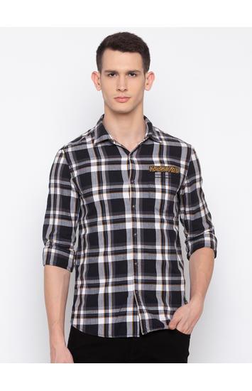 Spykar Black Checked Slim Fit Casual Shirt