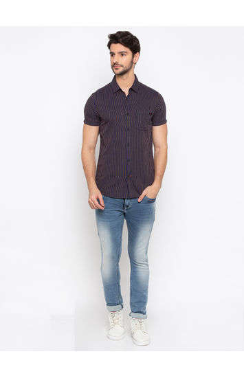 Navy and Yellow Striped Slim Fit Casual Shirt