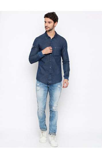 Dark Blue Solid Slim Fit Casual Shirt
