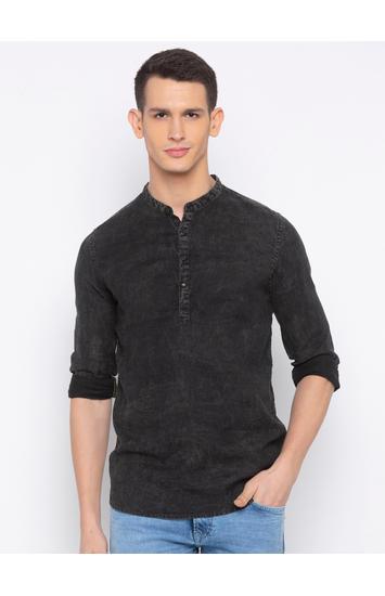 Spykar Black Solid Slim Fit Casual Shirt