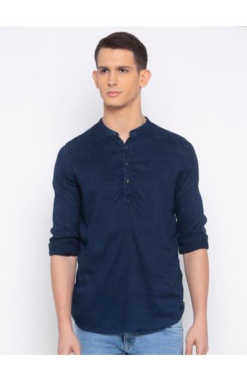 Spykar Dark Blue Solid Slim Fit Casual Shirt