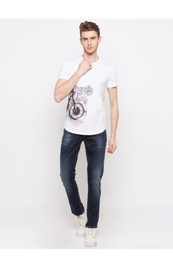 Off White Printed Slim Fit T-Shirts