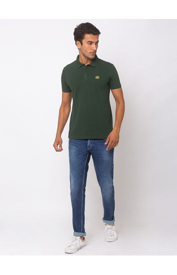 Spykar Cotton Green T-Shirts