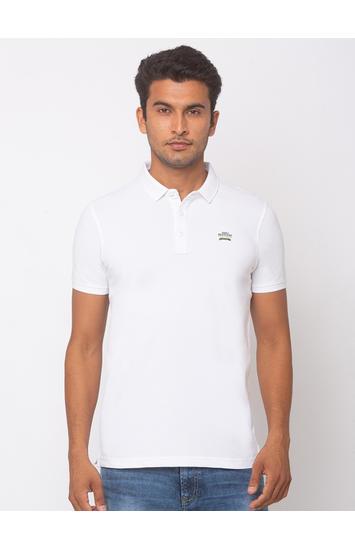 Spykar Cotton White T-Shirts